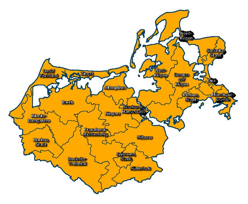 Wahlbgebiet zur Landratswahl 2018 Landkreis Vorpommern-Rügen